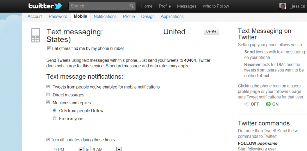 Configuring Twitter Mobile Notification Settings